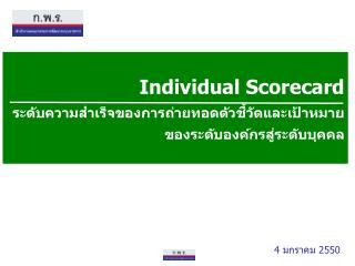 Individual Scorecard ระดับความสำเร็จของการถ่ายทอดตัวชี้วัดและเป้าหมาย ของระดับองค์กรสู่ระดับบุคคล