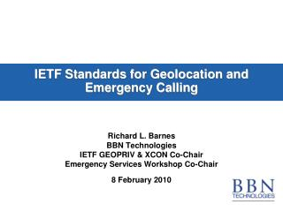 IETF Standards for Geolocation and Emergency Calling