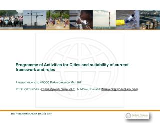 Programme of Activities for Cities and suitability of current framework and rules