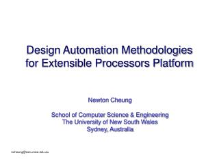 Design Automation Methodologies for Extensible Processors Platform
