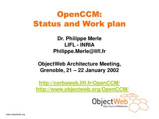 OpenCCM: Status and Work plan