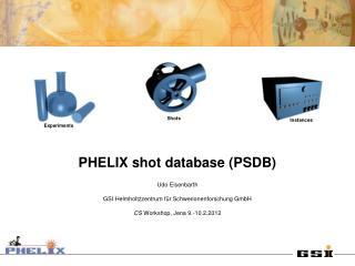 PHELIX shot database (PSDB) Udo Eisenbarth GSI Helmholtzzentrum für Schwerionenforschung GmbH