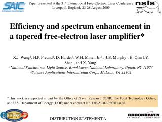 Paper presented at the 31 st  International Free-Electron Laser Conference