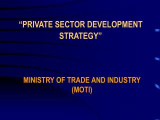 """PRIVATE SECTOR DEVELOPMENT STRATEGY"""