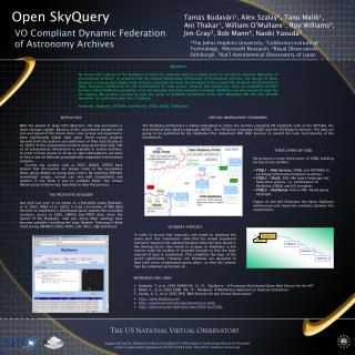 Open SkyQuery VO Compliant Dynamic Federation of Astronomy Archives