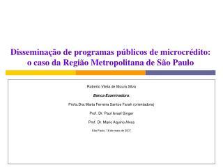 Dissemina��o de programas p�blicos de microcr�dito:  o caso da Regi�o Metropolitana de S�o Paulo