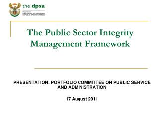 The Public Sector Integrity Management Framework