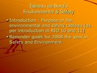 Tableau de Bord�s Environmental & Safety