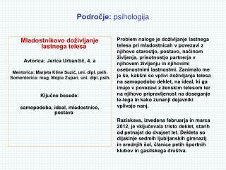 Področje:  psihologija