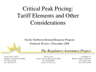 Critical Peak Pricing: Tariff Elements and Other Considerations
