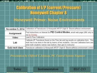 Calibration of I/P (current/Pressure)  Honeywell Chapter 8