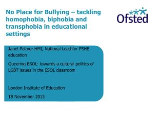 No Place for Bullying – tackling homophobia, biphobia and transphobia in educational settings