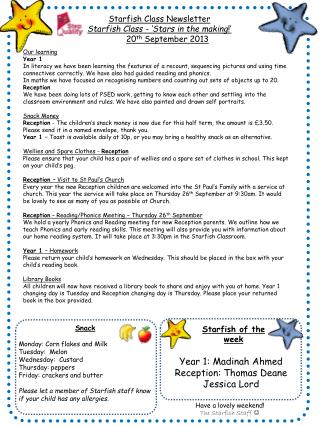 Starfish Class Newsletter Starfish Class - �Stars in the making !�