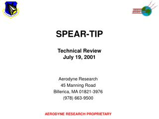 SPEAR-TIP Technical Review July 19, 2001