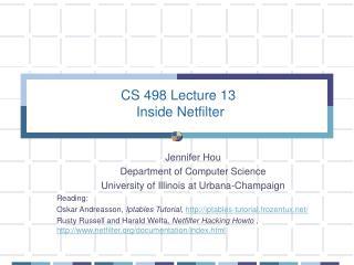 CS 498 Lecture 13  Inside Netfilter