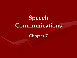 Speech Communications