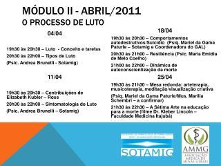 Módulo II - Abril/2011 O Processo de Luto