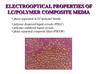 ELECTROOPTICAL PROPERTIES OF LC/POLYMER COMPOSITE MEDIA