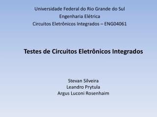 Universidade Federal do Rio Grande do Sul Engenharia Elétrica