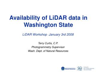 Availability of LiDAR data in Washington State