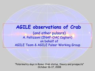 AGILE observations of Crab       (and other pulsars)