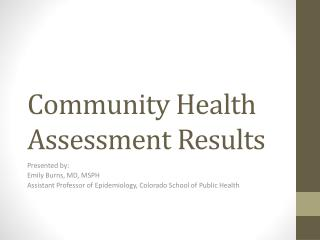Community Health Assessment Results