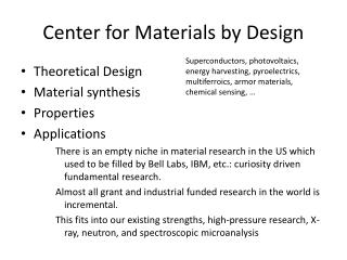 Center for Materials by Design
