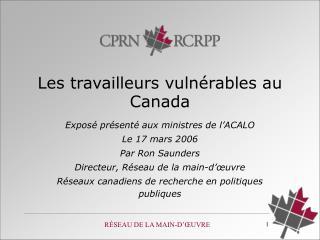 Les tr availleurs vulnérables au  Canada