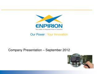 Company Presentation – September 2012