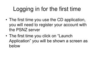 Logging in for the first time