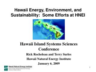 Hawaii Energy, Environment, and Sustainability:  Some Efforts at HNEI