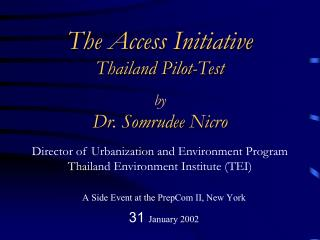 A Side Event at the PrepCom II, New York 31 January 2002