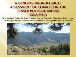A  dendrochronological  assessment of climate on the Fraser Plateau, British Columbia