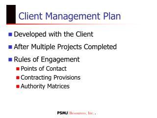 Client Management Plan