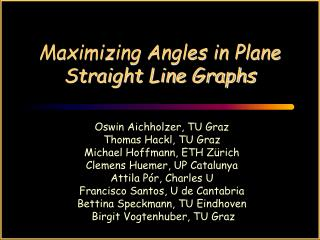 Maximizing Angles in Plane Straight Line Graphs