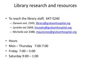 Library research and resources