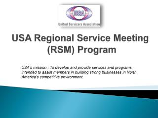 USA Regional Service Meeting  (RSM) Program
