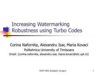 Increasing Watermarking Robustness using Turbo Codes