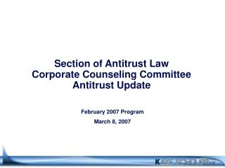 Section of Antitrust Law Corporate Counseling Committee Antitrust Update