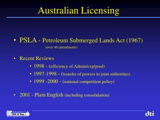 Australian Licensing