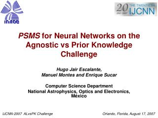 PSMS  for Neural Networks on the Agnostic vs Prior Knowledge Challenge