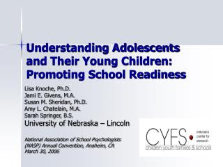 Understanding Adolescents and Their Young Children: Promoting School Readiness