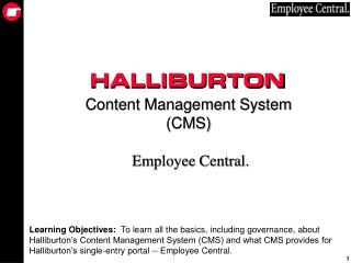 Content Management System (CMS) Employee Central.