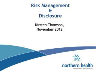 Risk Management & Disclosure