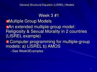 General Structural Equation (LISREL) Models