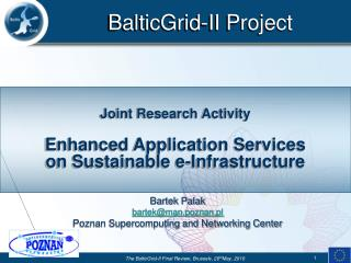 Joint Research Activity Enhanced Application Services  on Sustainable e-Infrastructure