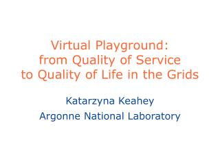 Virtual Playground:  from Quality of Service  to Quality of Life in the Grids