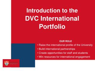 Introduction to the DVC International  Portfolio