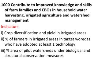 Output 1500  1500  Watershed management strengthened  (Indicators)
