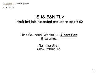 IS-IS ESN TLV draft-ietf-isis-extended-sequence-no-tlv-02